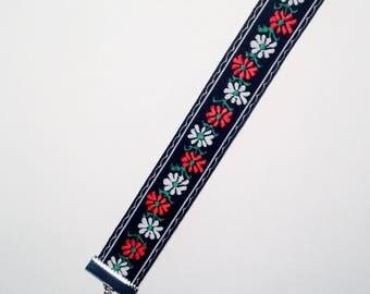 Black handmade embroidered floral folk bracelet