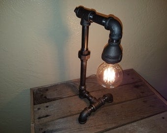 Rustic Industrial Vintage Steampunk Handmade Black Iron Lamp W/ Edison Bulb