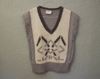 Vintage Wool Blend Sleeveless Sweater Top Vest *Flat Rate Shipping* [Cute Vintage Top Sweatshirt Women's Size Medium] 34 inch waist