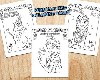 Frozen Birthday Coloring Pages Party Favor Printable Digital