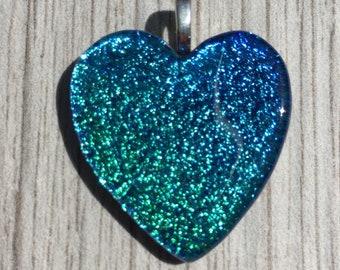 Dichroic Fused Glass Pendant - Aqua Blue Heart Pendant