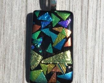 Dichroic Fused Glass Pendant - Rainbow Pattern Mosaic Pendant