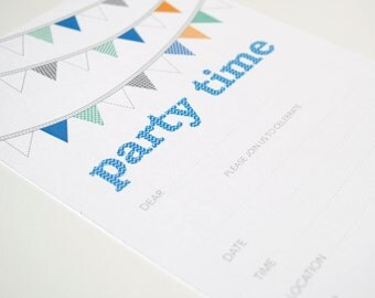 Invitations Blank - Buntings / Blue