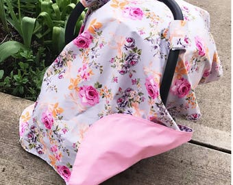 Floral carseat cover, canopy, pink!