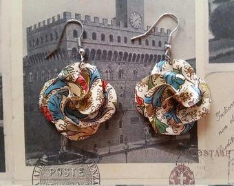 Patterned Origami Flower Earrings