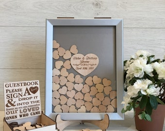 Wedding Guest Book, Silver, Alternative Drop Box, Wedding Box Wishes, Guest Book, Guestbook Hearts, Drop Box Guest Book, Wedding, Guestbook