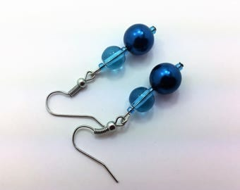 Teal blue glass bead #3