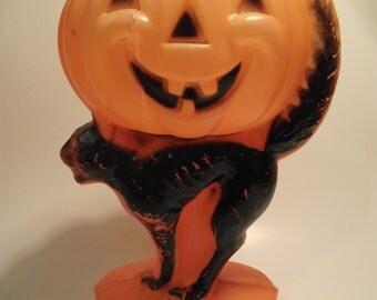 Vintage Halloween Jack O Lantern Black Cat Plastic Blow Mold