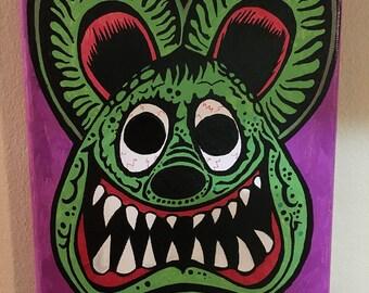 Rat fink vintage mask painting