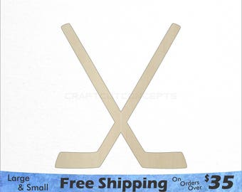 Wood Hockey Sticks - Large & Small - Pick Size - Laser Cut Unfinished Wood Cutout Shapes (SO-0011)