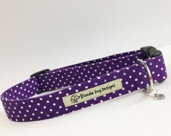 Purple, Polka Dot, Handmade Dog Collar, Made in UK