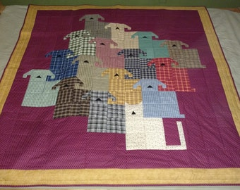 Dogs and Cat Quilted Lap blanket