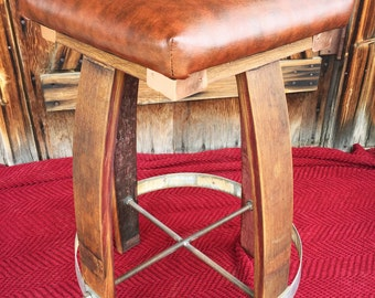 Wine Barrel Bar Stool-Wood Barstool-Kitchen Barstool-Barrel Art-Pub Stool