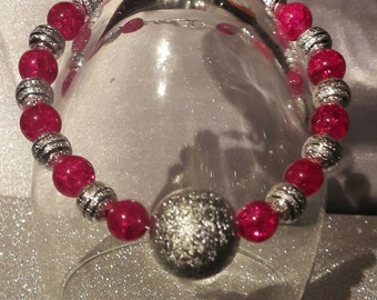 Womens silver bracelet,Pink and silver stardust Bracelet, beaded bracelet, ladies bracelet