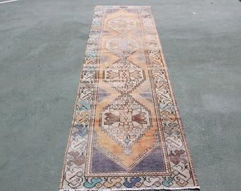free shipping rug,9'8''x2'8''anatolian area rug,300x85 nomadic turkish style runner oushak rug