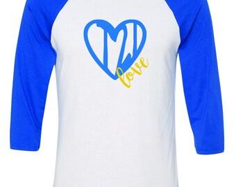 Heart T21 Love w/Down syndrome definition - 3/4 Raglan