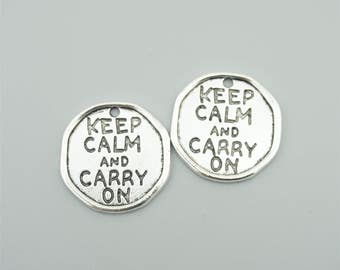 10pcs 27mm Antique Silver Keep Calm And Carry On Charm Pendants,Letters Pendants ZT1297