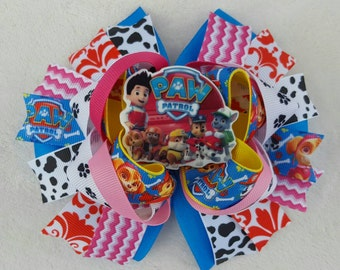 6in. Paw patrol stacked hairbow