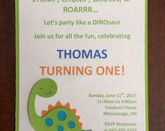 10 Dinosaur Invitations, Birthday Invitation, First Birthday Invitation, Dinosaur Birthday Invitation