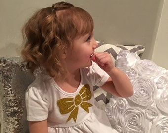Toddler Dress with glitter bow
