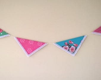 Handmade Floral Party Bunting - Rose