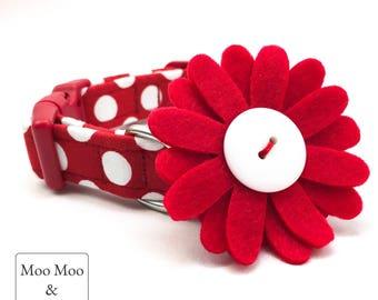 Daisy Dog Collar Felt Flower