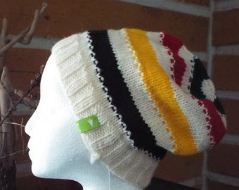 Canadian Striped Slouchy Knitted Hat