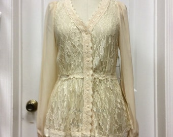 Lace button front blouse