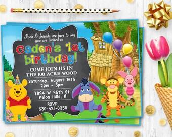Winnie the Pooh invitation Chalkboard Birthday card Printable digital card invite