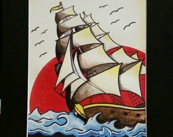 Pirate Ship Watercolor Print