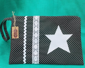 Handmade bag. Pencil Pouch star. Tote bag for women. Comfortable bag. Bag Patchwork with lace.