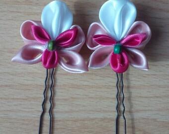 lot of 2 Orchid tsumami kanzashi hair pins pink
