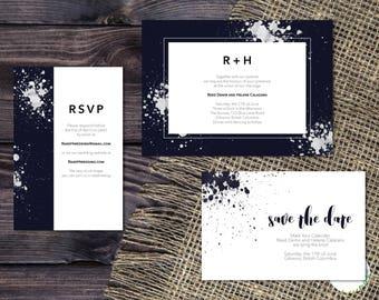 Printable Wedding Invitation Suite   Modern Artistic Wedding Invite   Navy Blue Watercolor Wedding Invitation   RSVP Card   Raindrop Suite