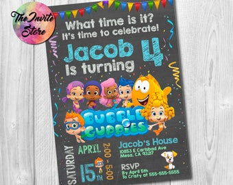 Bubble Guppies Invitation, Bubble Guppies Party, Bubble Guppies Invite, Bubble Party, Bubble Invite, Printable, Digital, AB-019