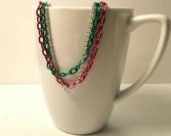 Chain layer necklace, Green and pink and silver colors
