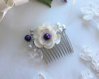 Purple Pearl Bridal Hair Comb, Wedding Hair Comb, Flower girl hair accessories, Bridesmaid Hair accessories, Pearl Headpiece
