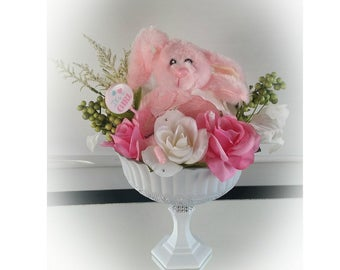 Pink Bunny Baby Shower Centerpiece, Bunny Center Piece, Bunny Baby Shower, Bunny Floral Centerpiece, Bunny Vase, Bunny Shower Vase, Vase