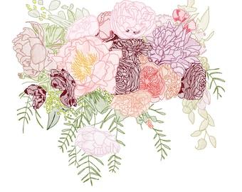 Snowy Day Bouquet Print