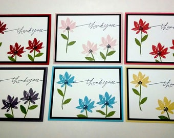 Thank You Cards, Set Of 6 Cards, Handmade Stampin Up Cards, Greeting Cards, Floral Thank You Card, Gift Box Option