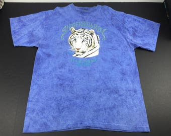 Vintage 90s siegfried & Roy white siberian tiger tie dye t-shirt mens XL magic