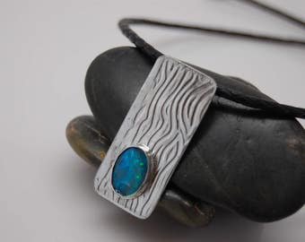 Australian opal and Sterling silver necklace