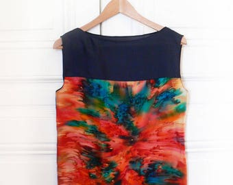 Fantastic silk top hand-dyed. Woman silk blouse. Art to wear. Hand dyed and hand painted woman clothing. Fashion silk to wear