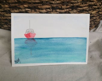 Personalized Sailing Sailboat Watercolor