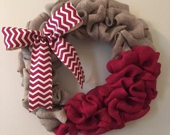 Handmade Burlap Wreath, Red Burlap, Red/Cheveron Ribbon