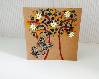 Hand made/ home made  blank card for any occasion. Tree, flowers and butterflies