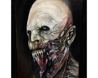 Original Zombie Oil Painting on Canvas