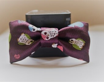 Japanese kimono bow barrette ( with a owl pattern) hair accesary