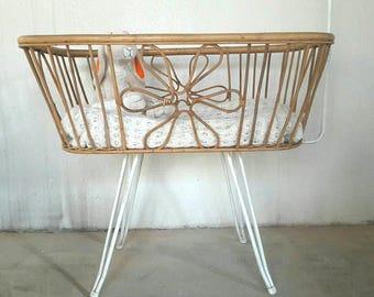 Rattan Crib Bassinet Cradle designed by Dirk Van Sliedregt for Rohe Noordwolde HairPin Legs