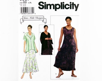 Simplicity Pattern 9087 Misses' Sleeveless Pullover Dress with Flared Gored Skirt, Kimono Sleeve Jacket, Hi-Low Hem, Sizes L, XL, Uncut