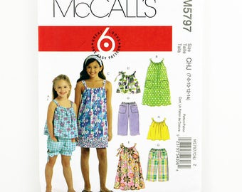 McCall's Pattern 5797, Children's Tops, Dress, Shorts, Pants, Size 7-14, Girls Play Outfits, Girls Summer Clothes Sewing Patterns, Sundress